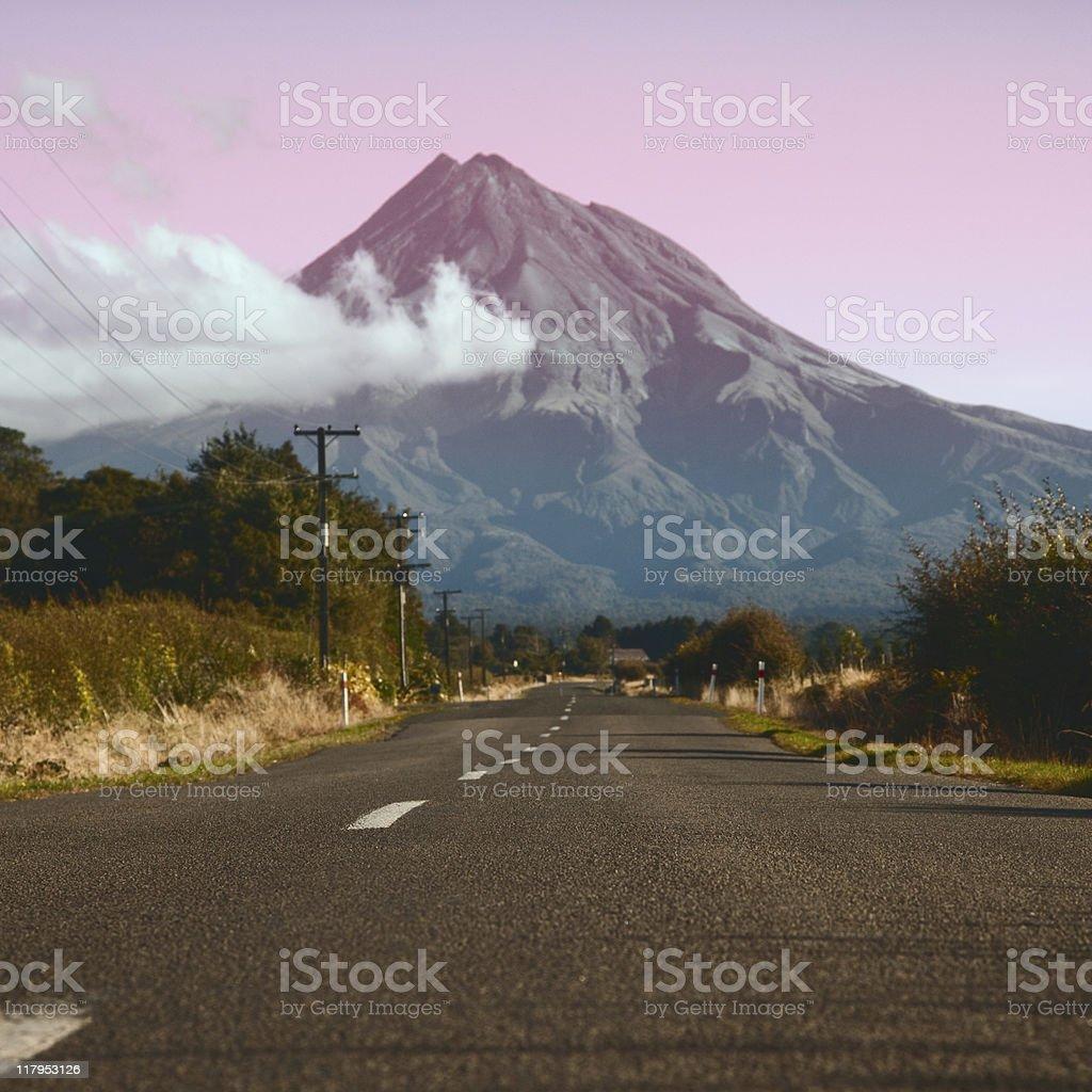 Road to Taranaki volcano, New Zealand stock photo