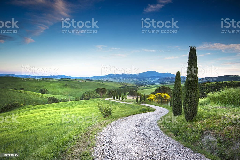 Road to the beauty Tuscany stock photo