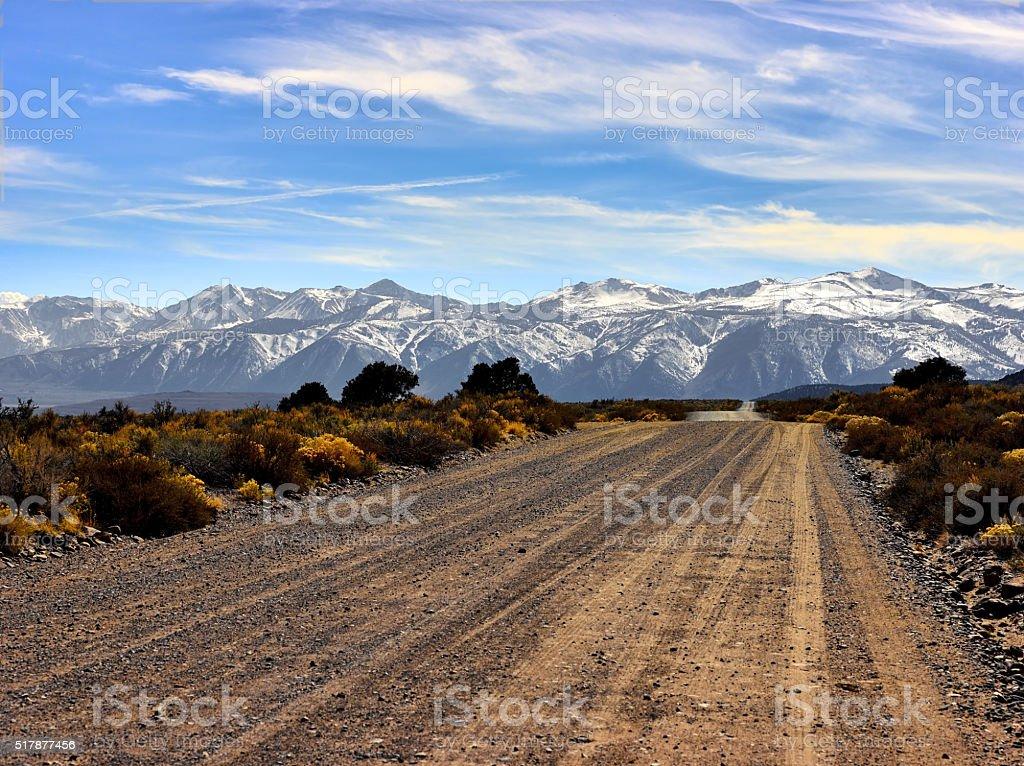 Road to the Eastern Sierra Nevada mountains. stock photo