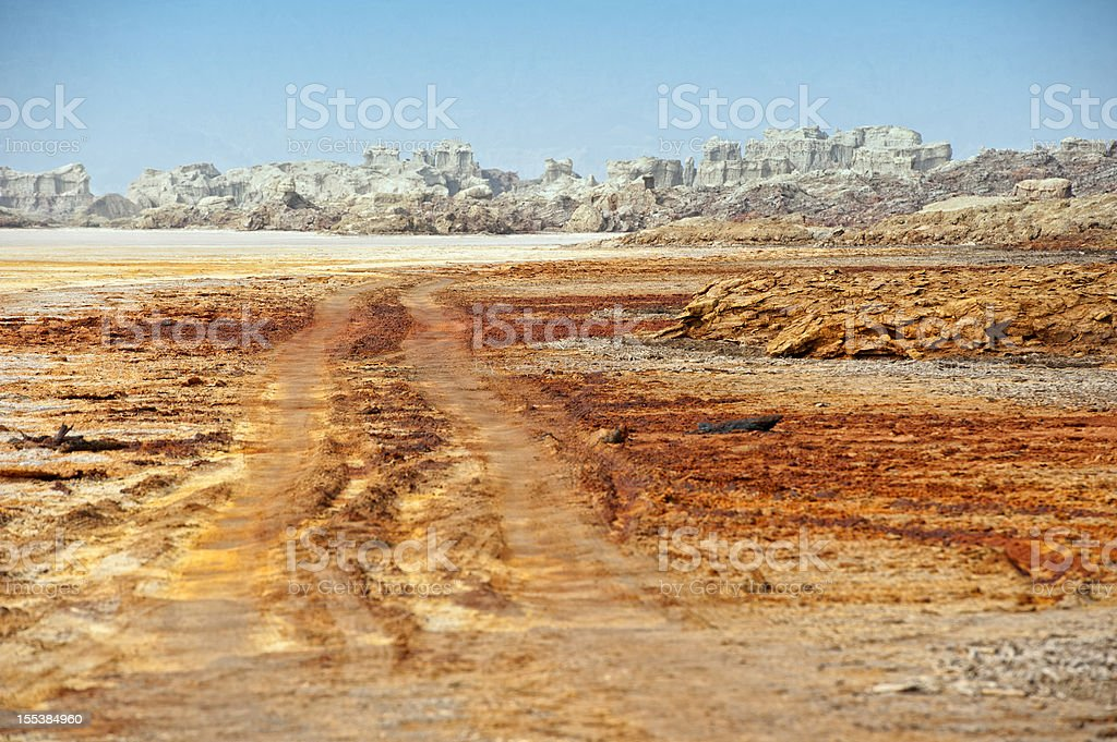 Road to the explosion crater of Dallol volcano, Ethiopia stock photo
