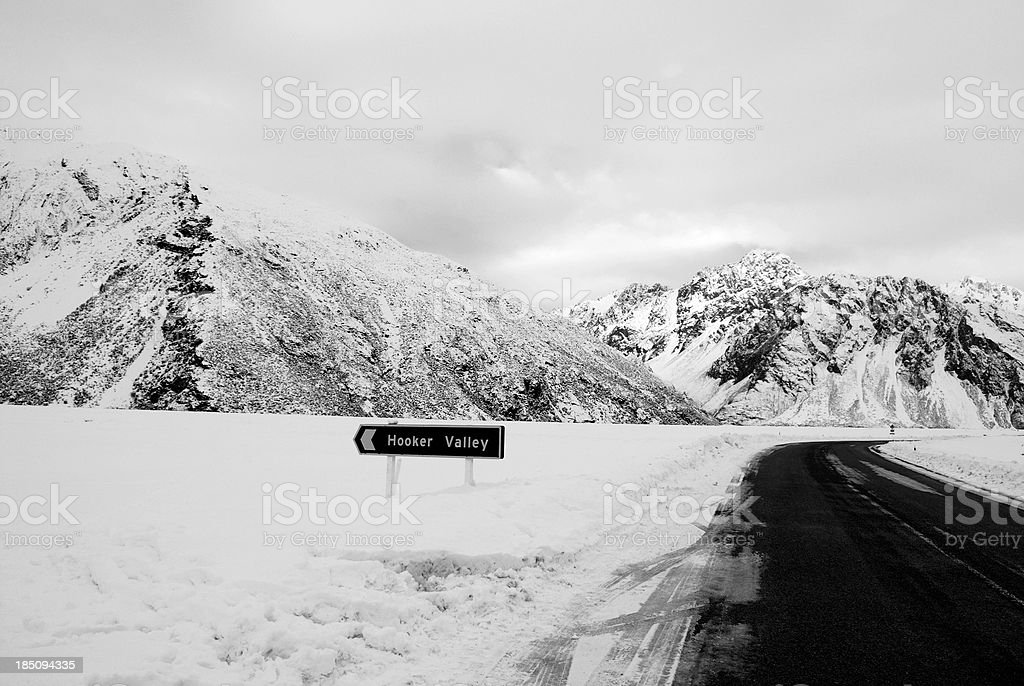 Road to the Hooker Valley, Aoraki National Park, NZ royalty-free stock photo