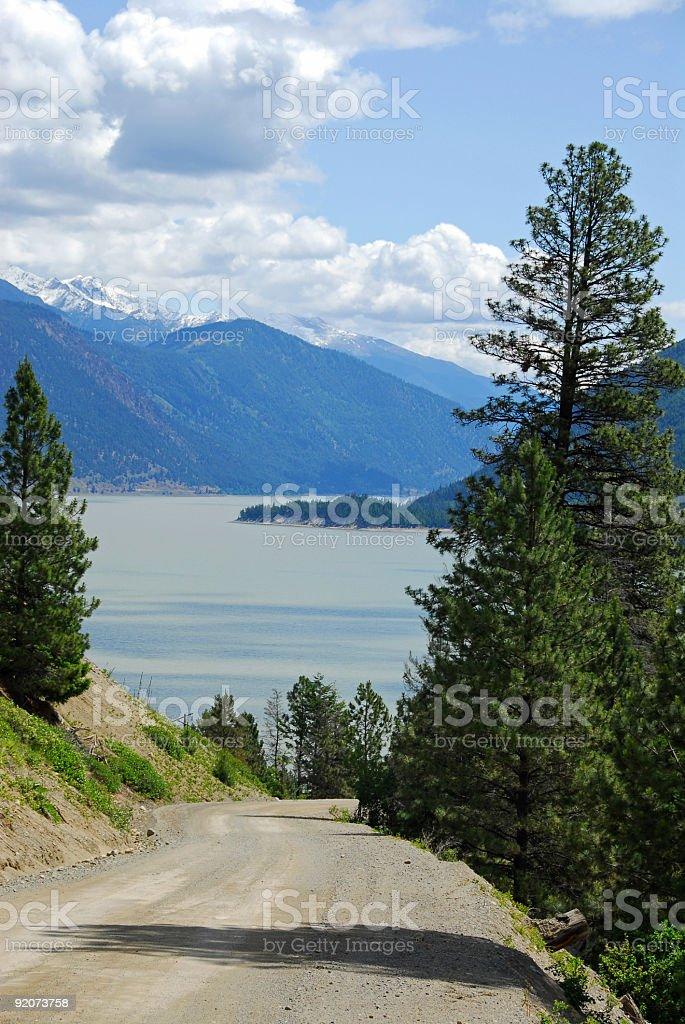 Road to the lake near Goldbridge,British Columbia,Canada royalty-free stock photo