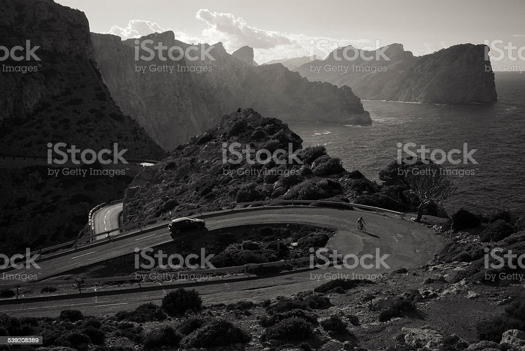 Road to the lighthouse at Cap Formentor on Majorca island stock photo