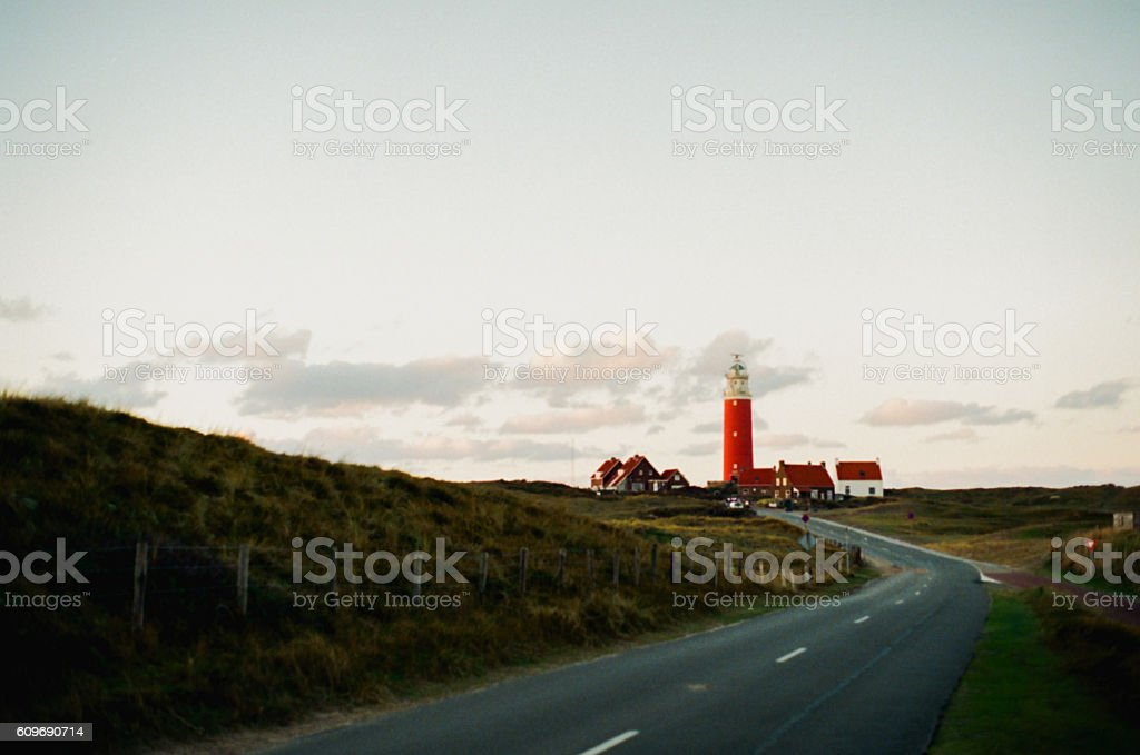 Road to the lighthouse stock photo