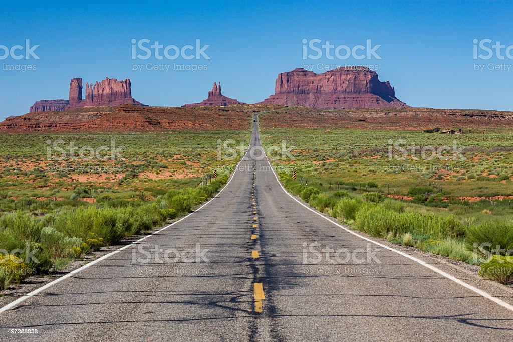 Road to the Monument Valley, Utah, USA stock photo