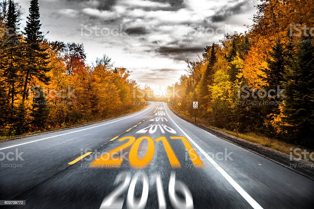 Road to the next years stock photo
