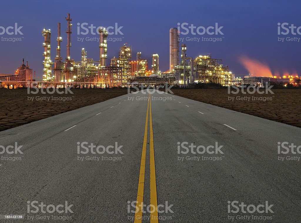 Road to the petrochemical plant royalty-free stock photo