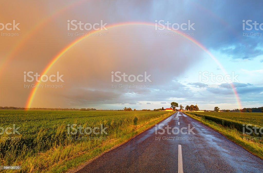 road to the rainbow stock photo