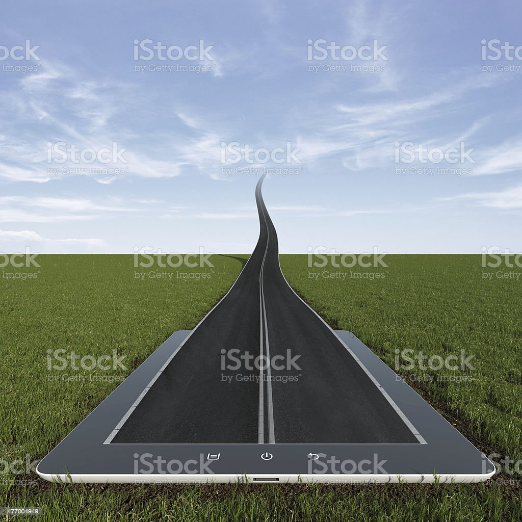 Road to the sky from tablet pc stock photo