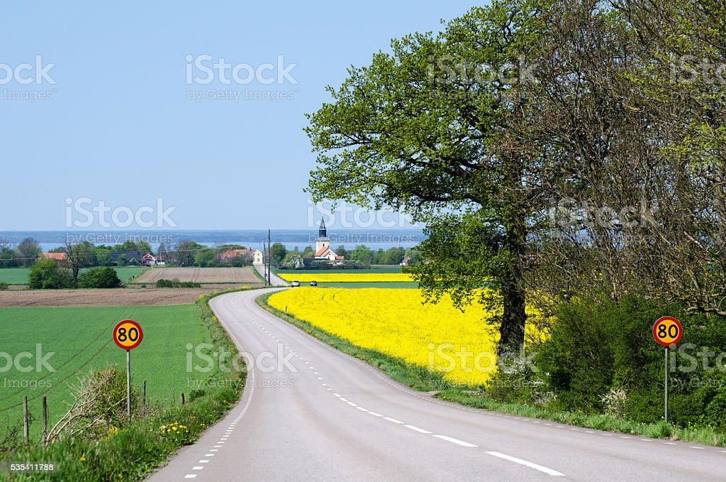 Road to the village at spring stock photo