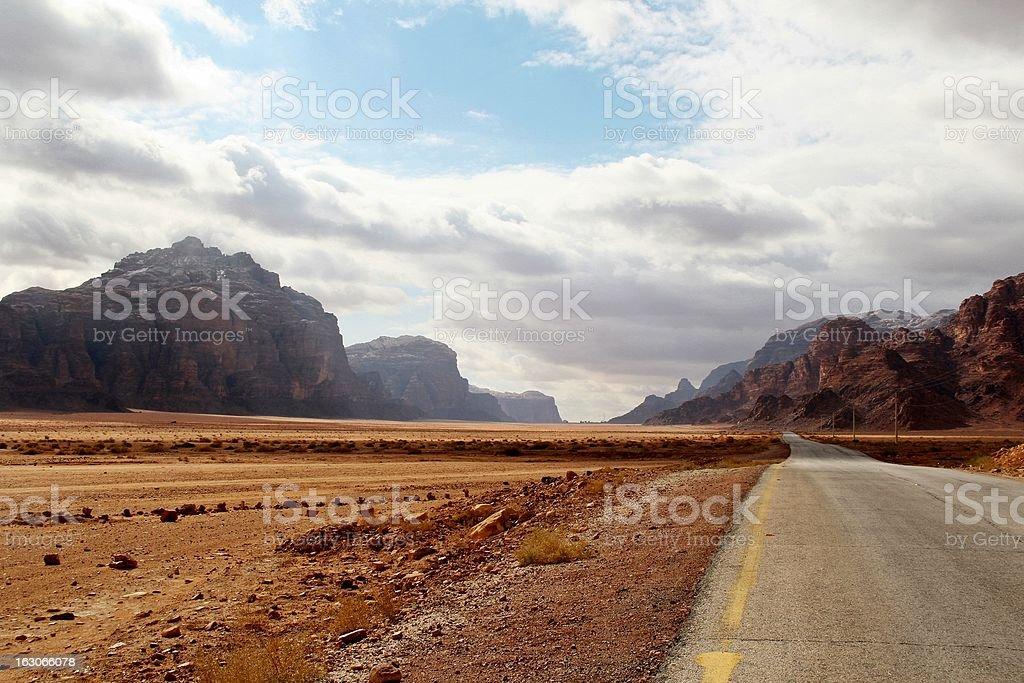 Road to the Wadi Rum desert - Jordan royalty-free stock photo