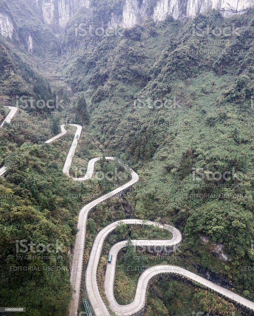 Road to Tianmen Mountain in Zhangjiajie China stock photo