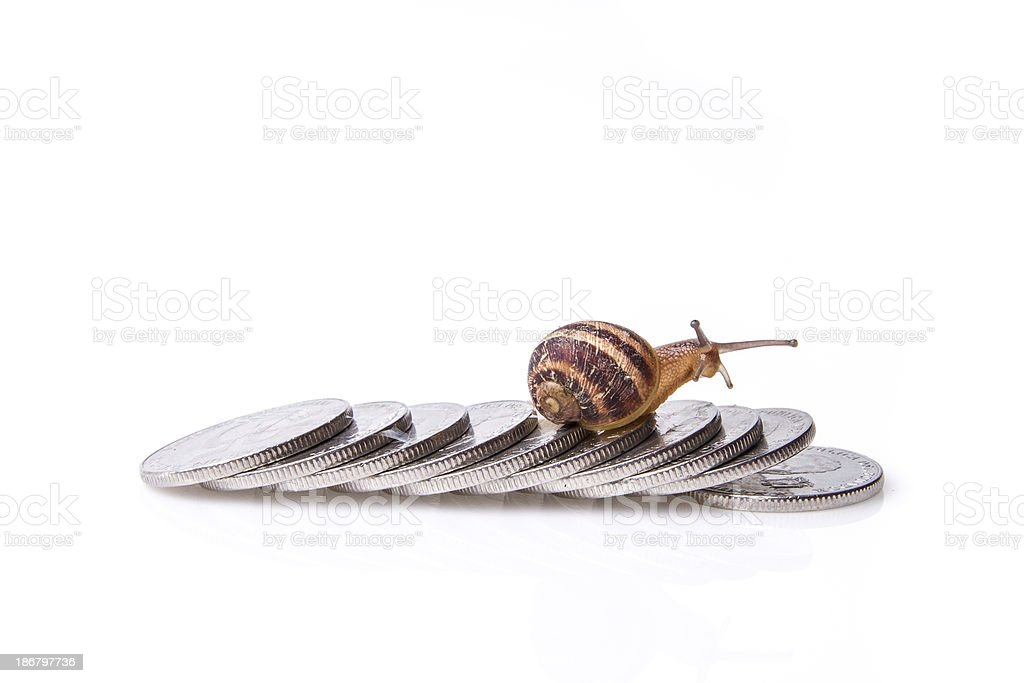 road to wealth, Snail crossing over shiny coins royalty-free stock photo