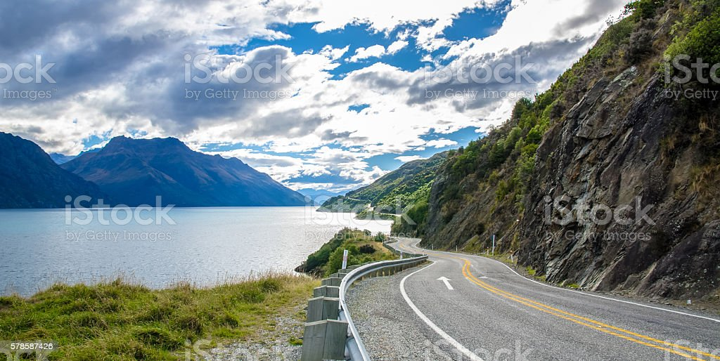 Road towards Lake Wakatipu Queenstown,New Zealand stock photo