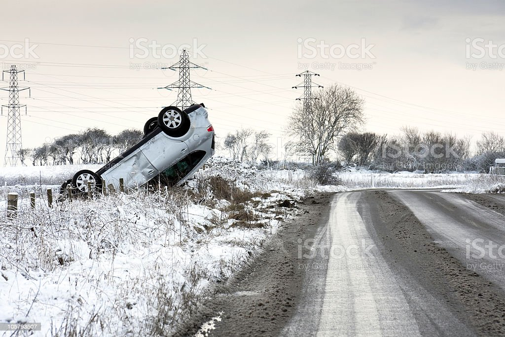 Road Traffic Accident during Winter stock photo
