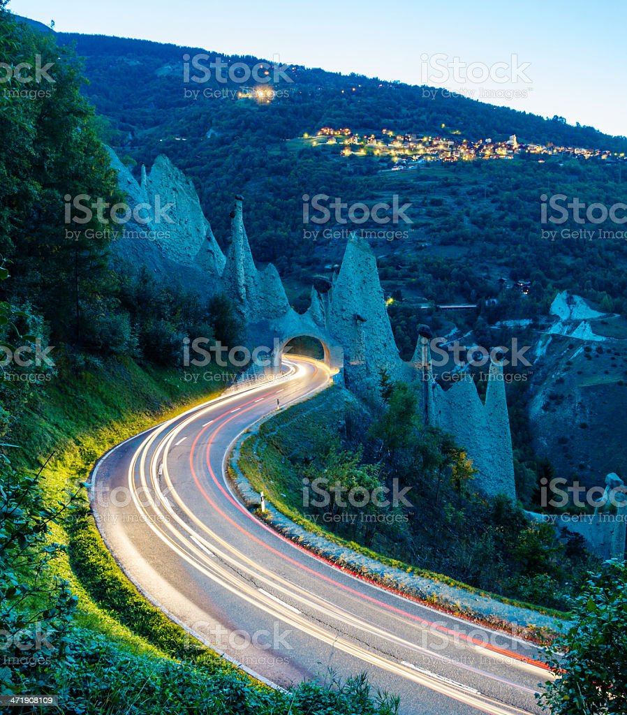 road traffic and Eroded glacial rock formations royalty-free stock photo