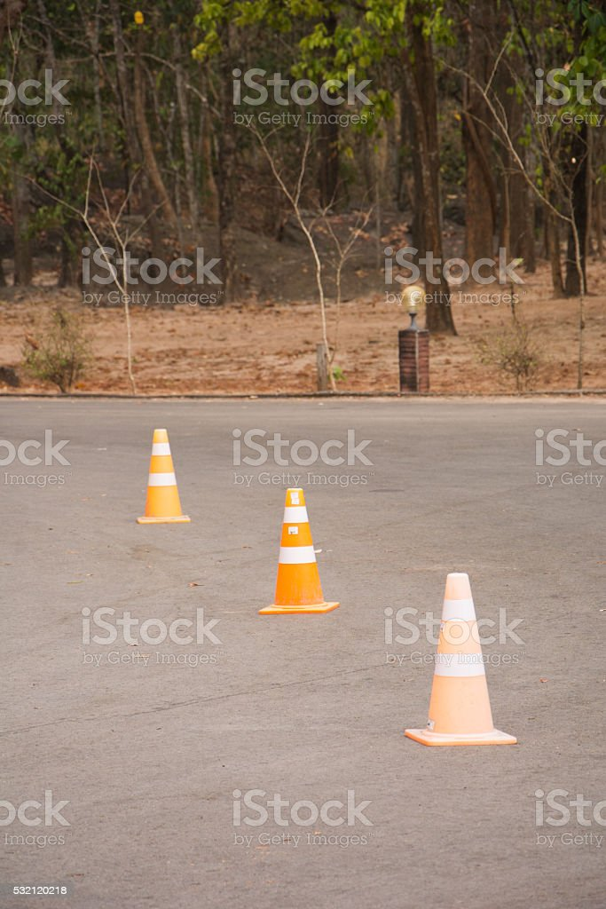 road traffic cone on the asphalt stock photo