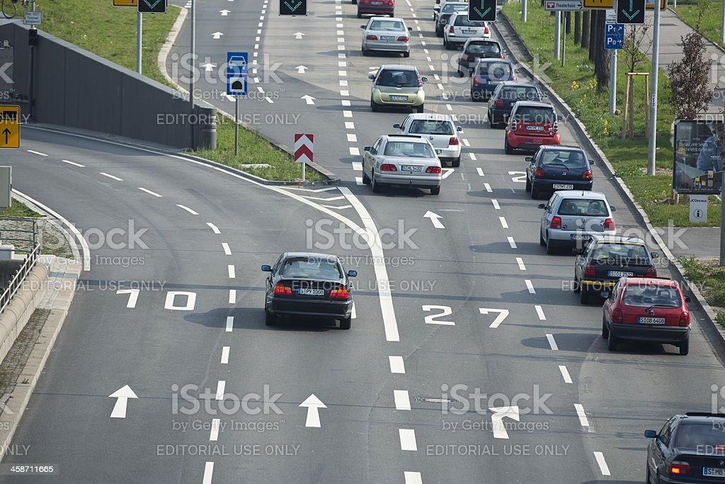 Road Traffic in Stuttgart, Germany, Elevated View royalty-free stock photo