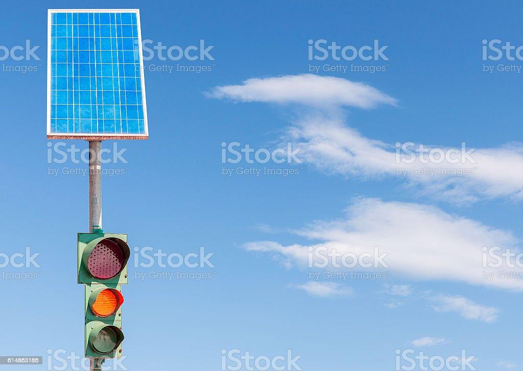 Road traffic light and solar panel stock photo
