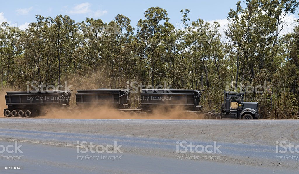 Road Train driving Manganese Ore from Mine to Port royalty-free stock photo