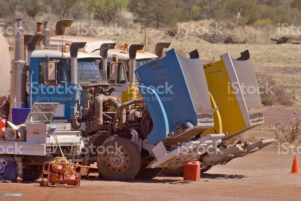 Road Trains Roadside Maintenance stock photo