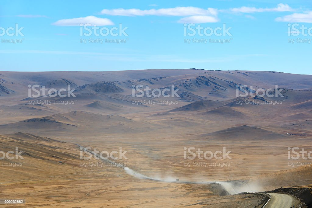 Road travel across Mongolia stock photo