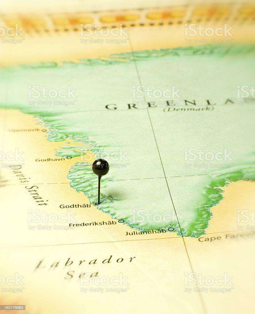 Road Travel Map Of Godtha Greenland And Labrador Sea stock photo