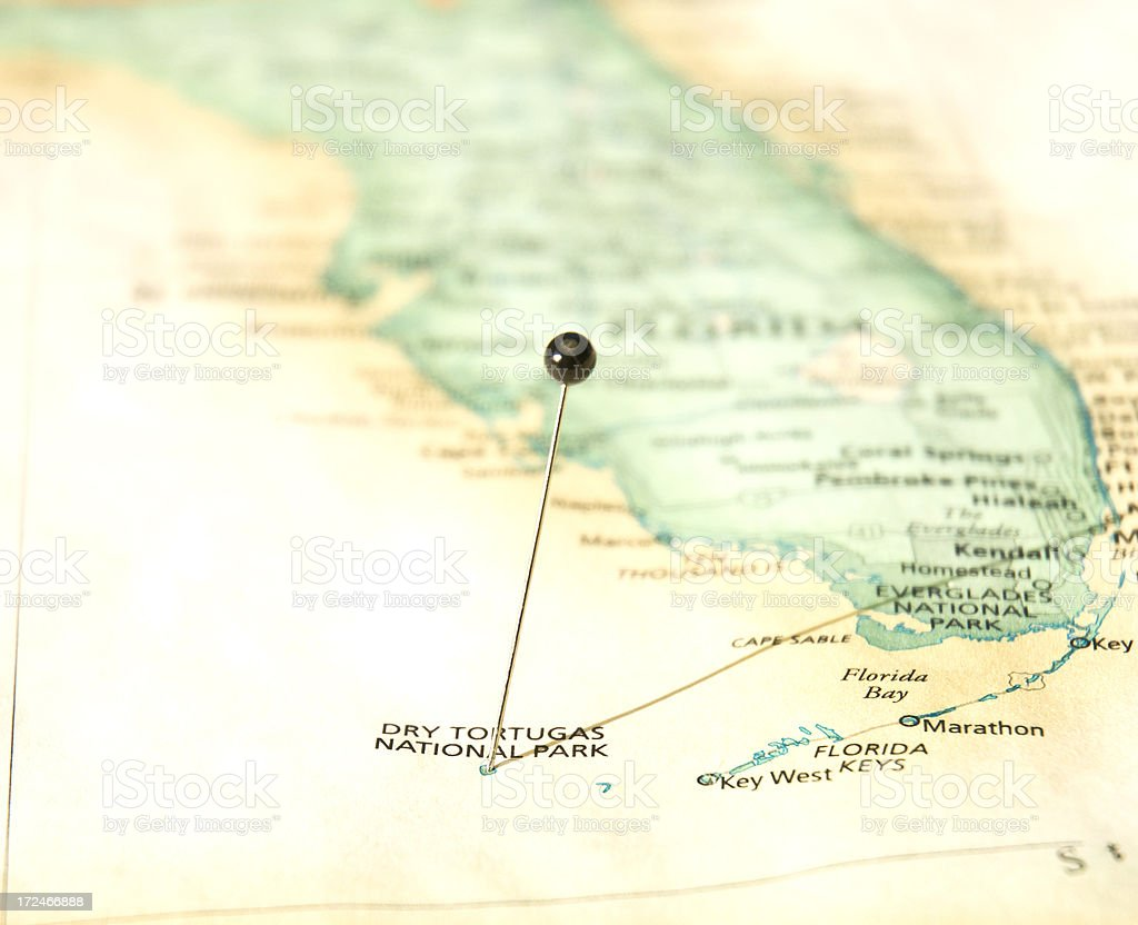 Road Travel Map Of South Florida Dry Tortugas And Keys royalty-free stock photo