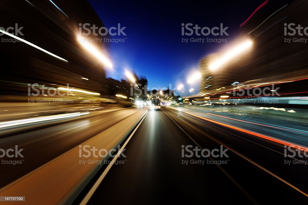 Road travel with motion royalty-free stock photo