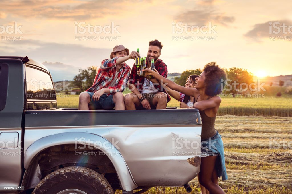 Young friends enjoying the freedom on a Car Trip over a country...