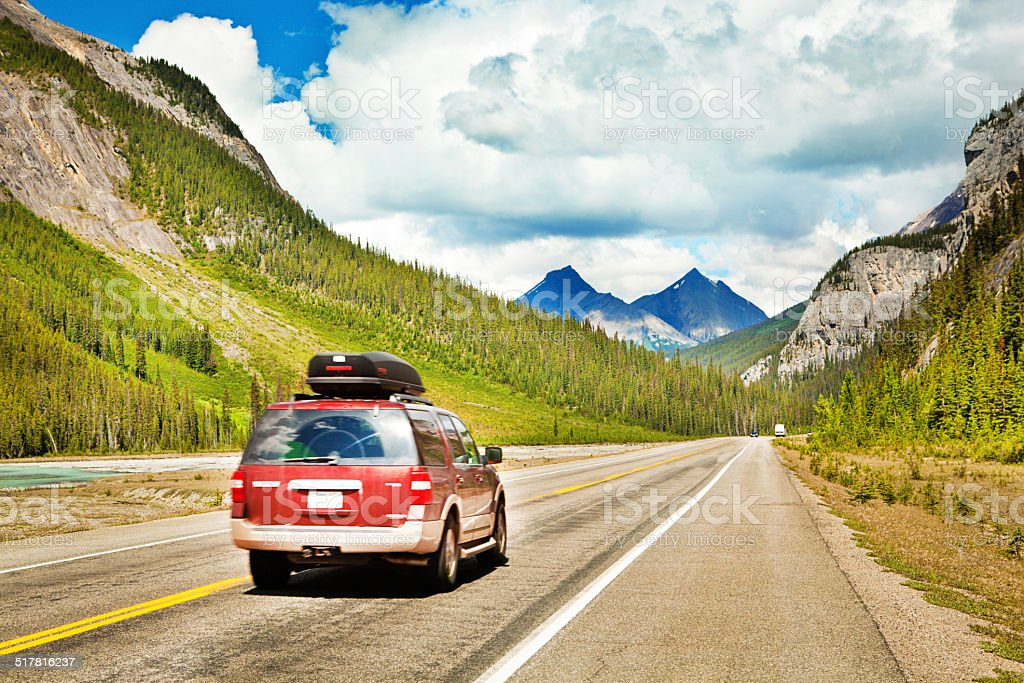 Road Trip Driving through Canadian Rockies Mountains, Banff National Park stock photo