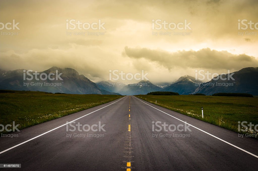 Road trip in Canada to Waterton Lakes National Park stock photo