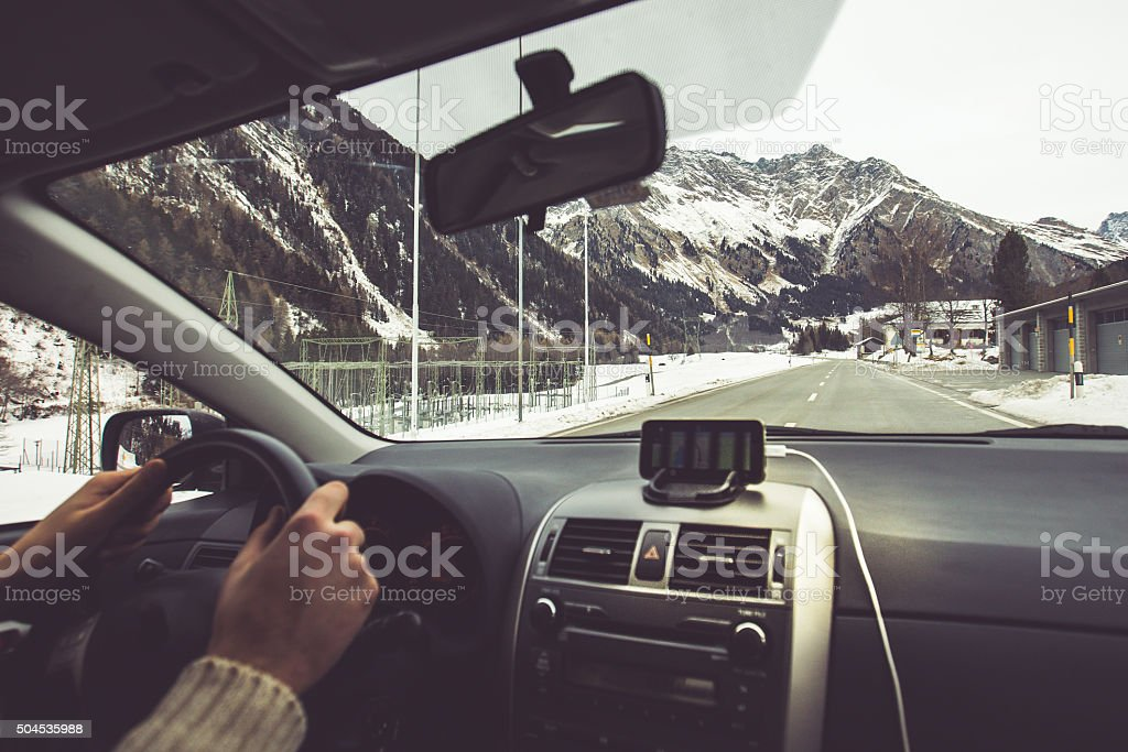 Road trip in mountains stock photo