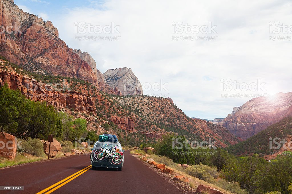 Road trip in the mountains- Utah, USA stock photo