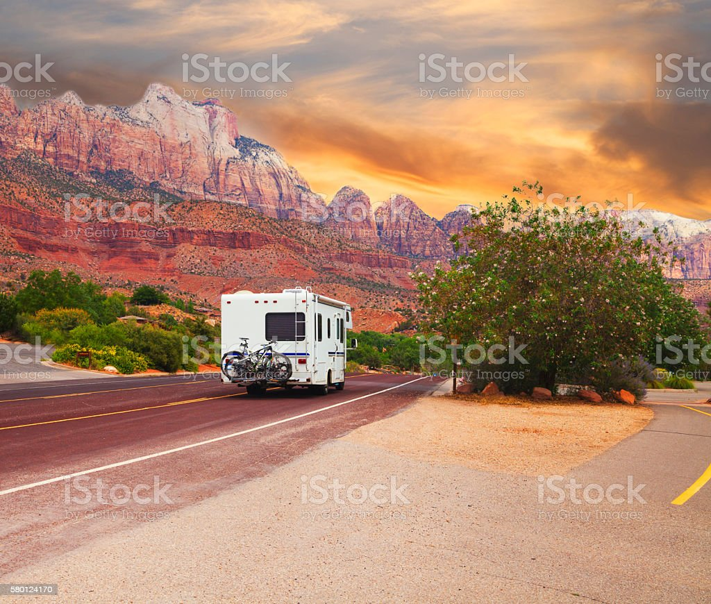 Road trip - Motor home on the road stock photo