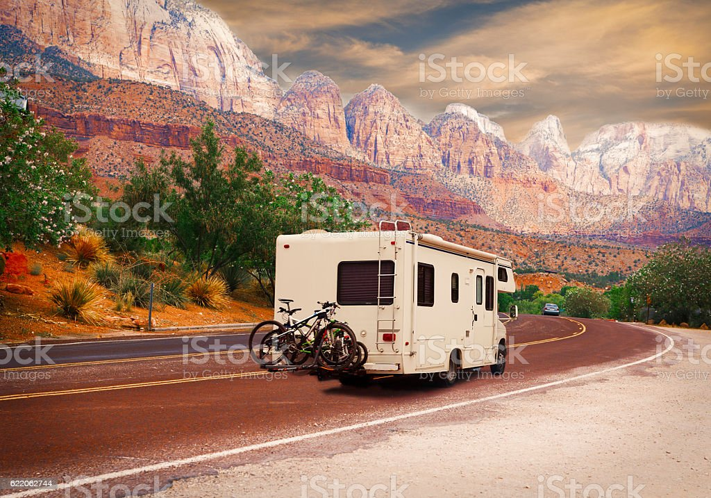 Road trip - Motor home stock photo