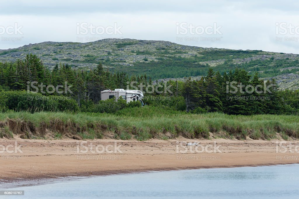 Road trip, Motorhome in Labrador, camping stock photo