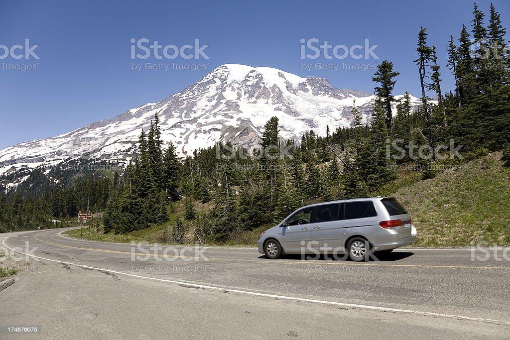Road trip near Mt. Rainier royalty-free stock photo