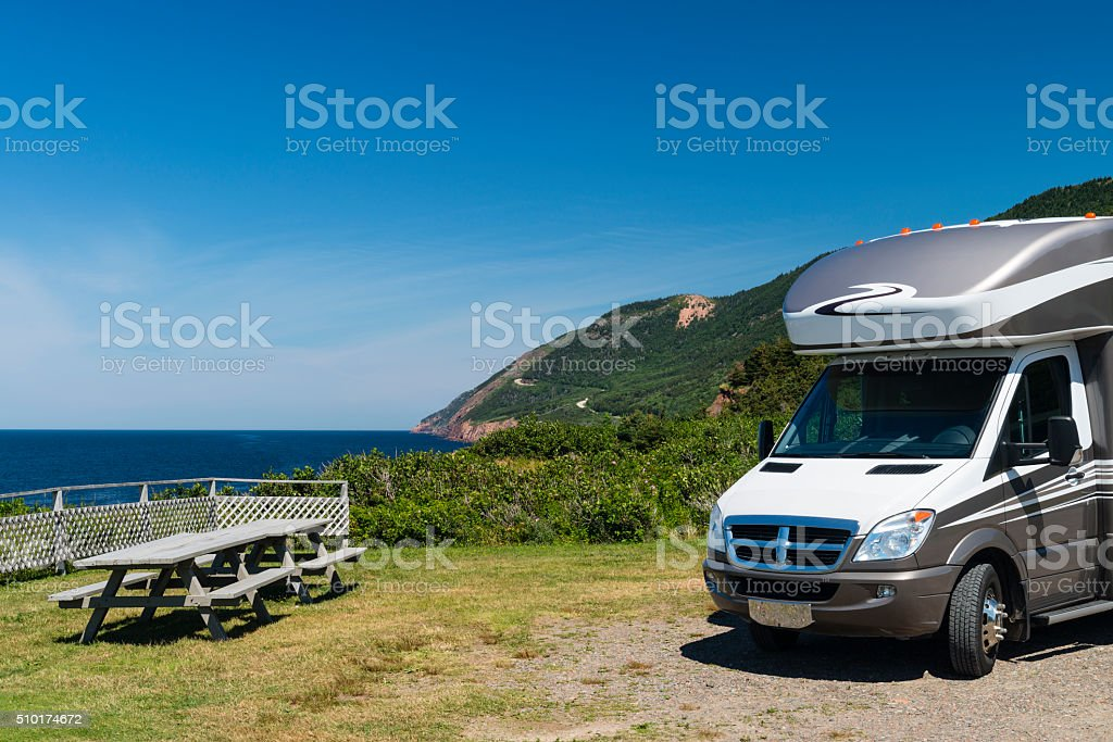 Road trip on Cabot trail, Nova Scotia, Maritime Provinces stock photo