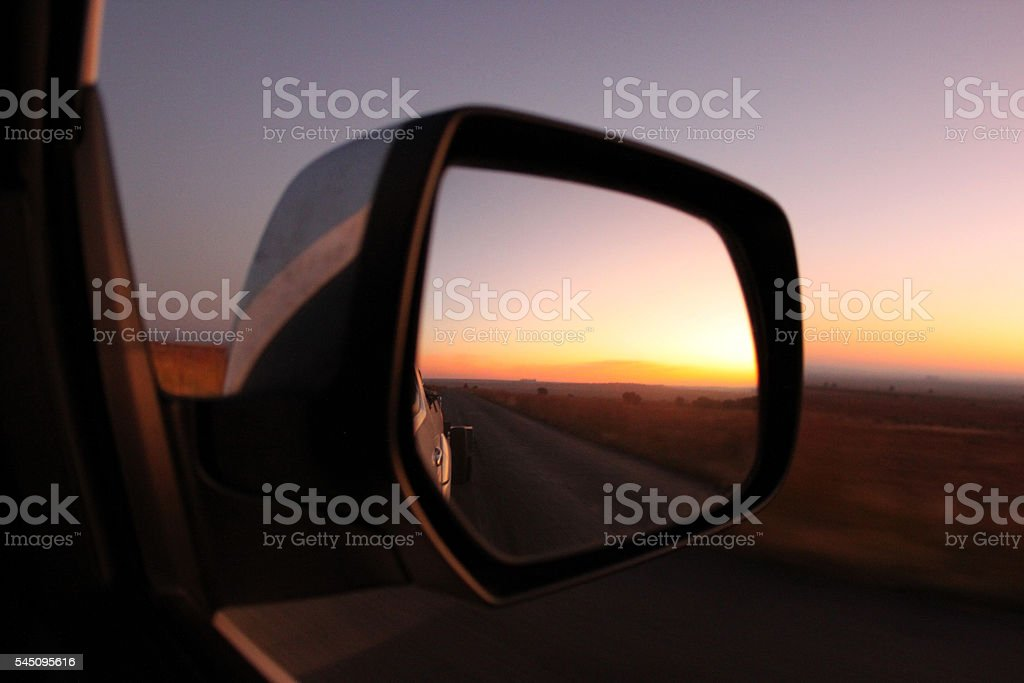 Road trip sunrise stock photo