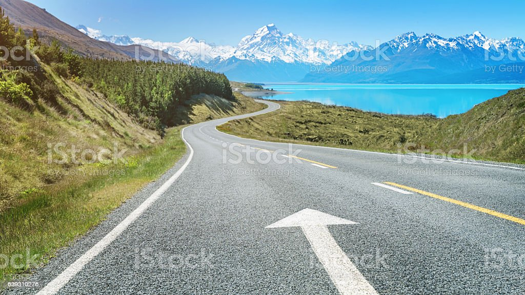 Road Trip to Mount Cook Lake Pukaki New Zealand stock photo
