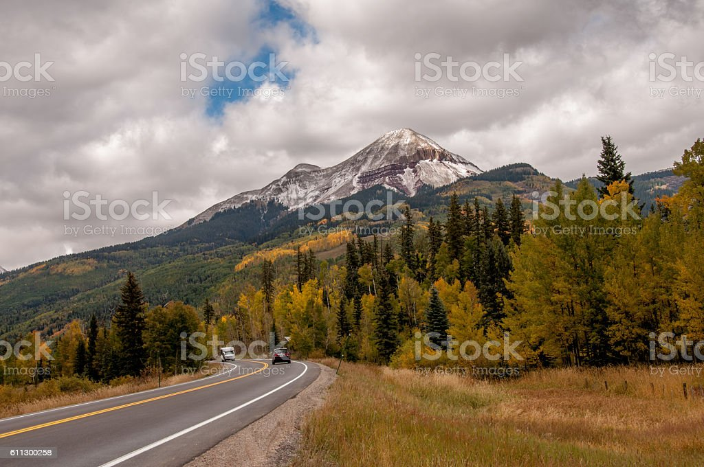 Road Trip To See Fall Colors in Colorado Rockies stock photo