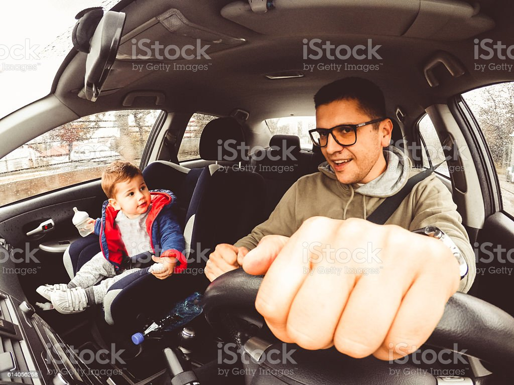Road trip with boys stock photo