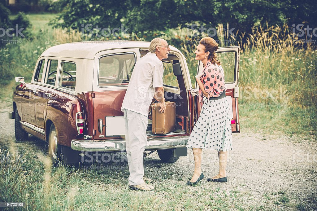 Road Trip with Oldtimer stock photo