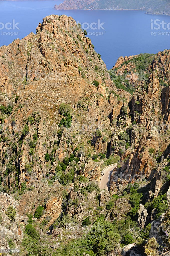 Road trough the calanche royalty-free stock photo
