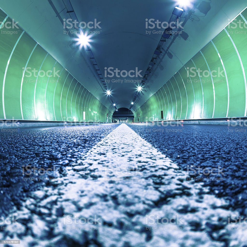 Road Tunnel at Night, Low Angle View stock photo