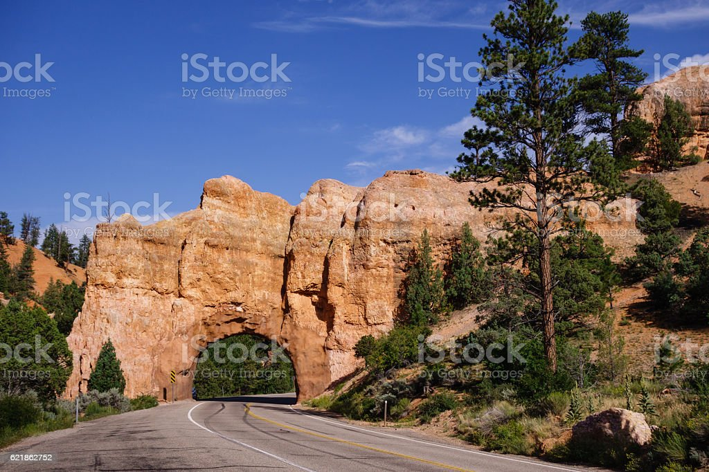 Road Tunnel at Red Canyon, near Bryce Canyon National Park stock photo