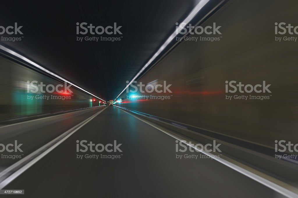 Road tunnel motion blur stock photo