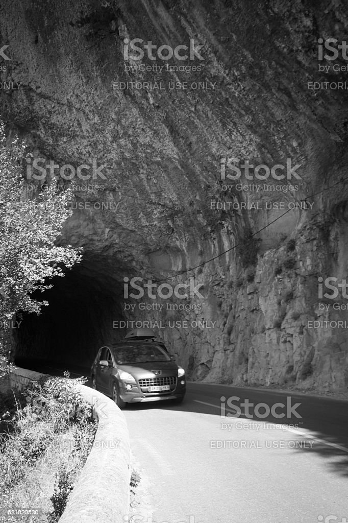 Road Tunnel through hillside stock photo