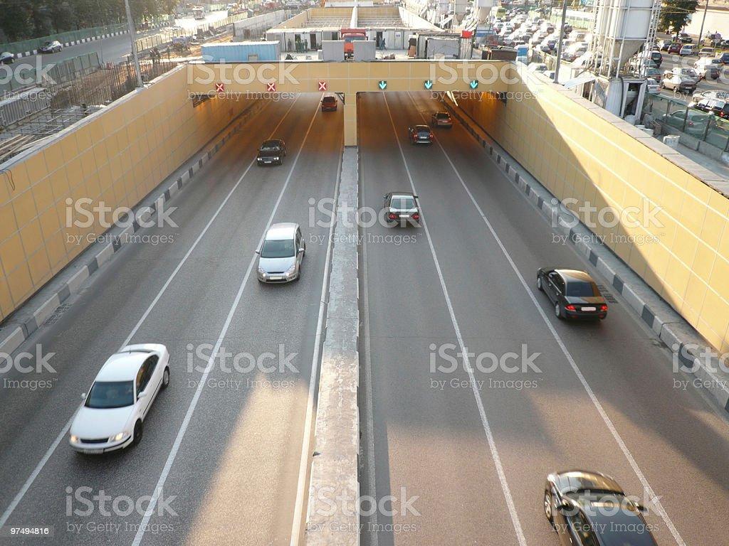 road tunnel under bridge royalty-free stock photo